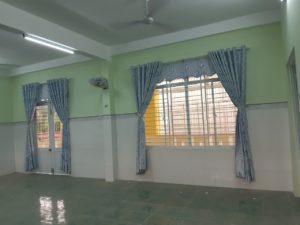 Thi công màn vải che nắng tại Trường Mầm non Long Sơn, huyện Minh Long, Quảng Ngãi